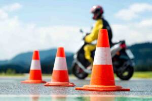 motorcycle and cones